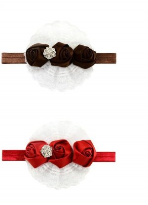 Haarband zwart bruin-rood
