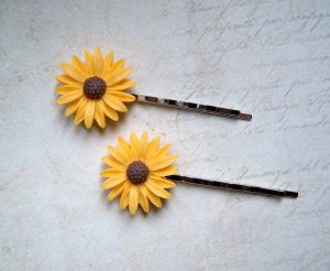2 Haarklammern große Blüten gelb silberfarben