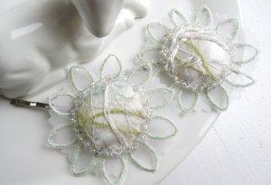2 Haarklammern Perlen bestickt Hochzeit/Kommunion