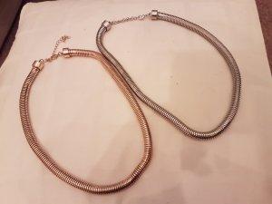 2 Halsketten silberfarben und goldfarben