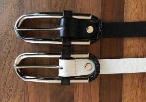 Coccinelle Leather Belt white-black leather
