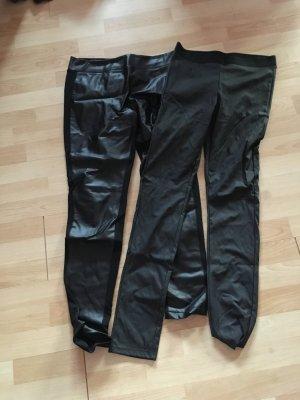 2 Hosen in Lederoptik/Materialmix von Orsay und New Yorker