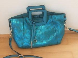 af52b72d705b1 2-in-1 Handtasche mit Clutch Kunstleder in Reptillederoptik Glanz