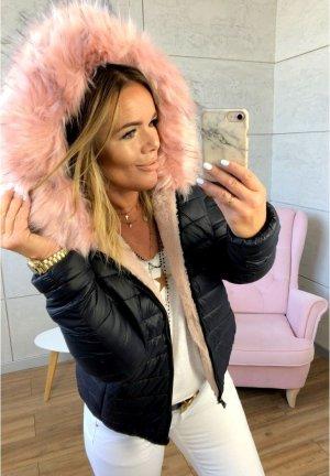 2 in 1 Jacke Wendejacke NEU ✔ Teddyfell Fake Fur rosa Fell Kunstfellkragen Bomber Jacke XL Kapuze Damen Parka Übergangsjacke Mantel Puderfarbe M/38