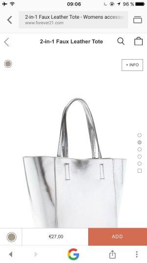 2 in 1 Leder Tasche in silber