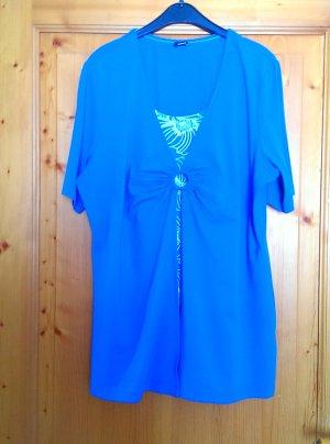 Walbusch Camiseta azul neón-blanco