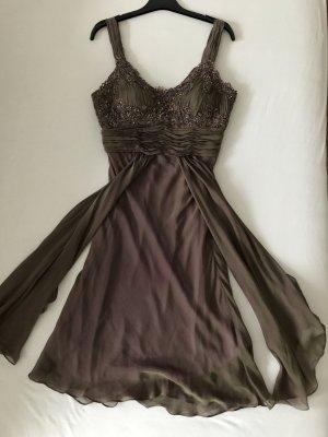 Robe de cocktail gris violet-violet soie