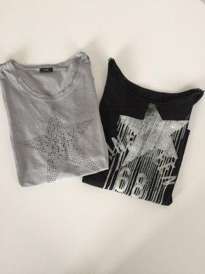 2 Langarm Shirts mit Sternen grau und schwarz Esprit und G.W. Gr S