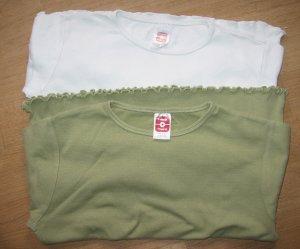 2 Langarm-Shirts uni von C&A, weiß + grün, Gr. 146
