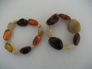 2 Modeschmuck Armbänder aus Steine / elastisch - Neu