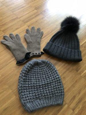 Knitted Hat grey brown-dark grey