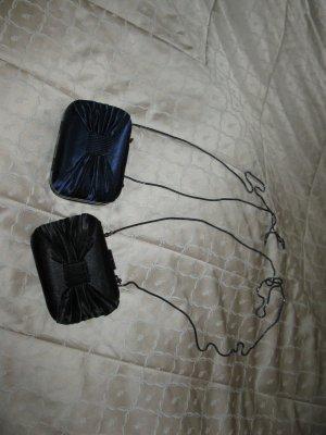 2 neue Satinclutch, schwarz und dunkel blau