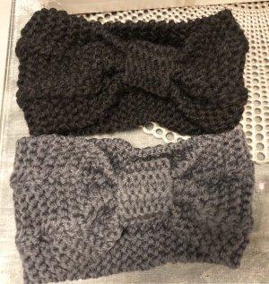 Chapeau en tricot noir-gris