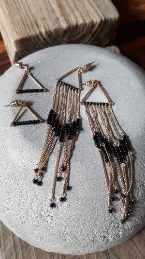 2 Paar Ohrringe Gold / Schwarz
