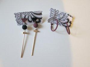 2 Paar Ohrringe ungetragen Creolen und Stecker schwarz gold graulila Statementohrringe