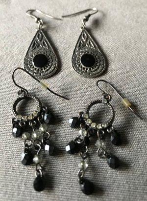 2 Paar schöne Ohrringe * schwarz silberfarben silber * Ohrhänger Strass * Bling Bling
