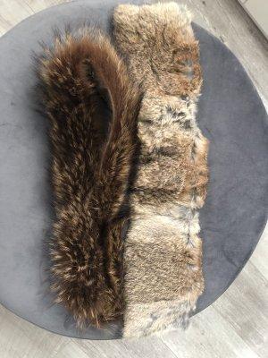 2 Pelzkragen Fuchs und Kaninchen