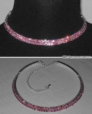 2-reihen Collier Strass rosa
