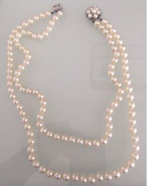 2-reihige echt Perlenkette Sterlingsilber Sicherheitsverschluss Echtsilber Perlen Kette Collier