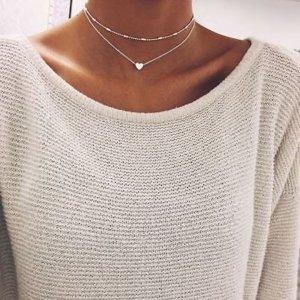 2 reihige Halskette Silber Modeschmuck Schmuck Vintage Boho Herz Mode Indi