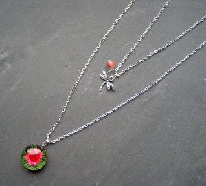 Necklace silver-colored-light pink metal