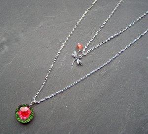 2-reihige Kette mit echter Blüte Libelle