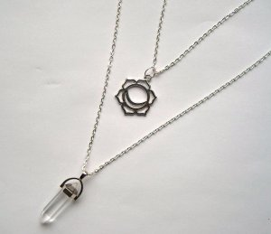 Necklace silver-colored-white metal