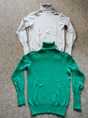 Zara Basic Pull-over à col roulé argenté-vert forêt