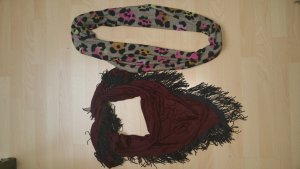 Sjaal bruin-bordeaux