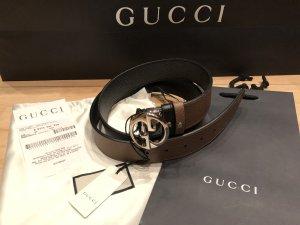 Gucci Dubbele riem zwart-bruin