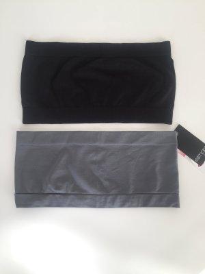 2 sexy Bandeau Tops grau neu! und schwarz Gr. 36-38 S
