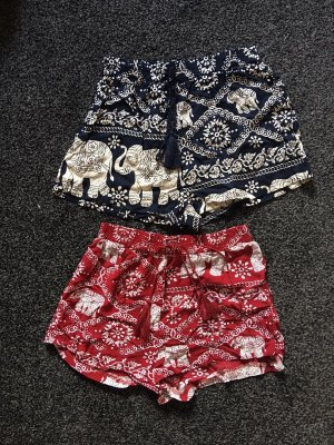 SheIn High-Waist-Shorts dark blue-dark red