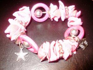 2 Stück Armbänder in Pink Muschel mit Perlen