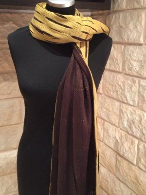 2 Stück NEU Italienische Mode Schals Halstuch Orange/Braun Gelb/Braun