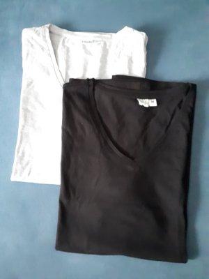 2 T Shirt schwarz grau