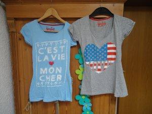 2 T-Shirts Gr.8 (S) in hellblau + grau