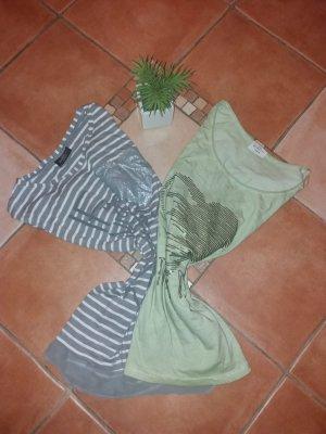 Camiseta color plata-verde claro tejido mezclado