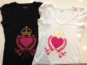 2 T-Shirts von Juciy Couture Weiß//Schwarz mit Strasssteinen XL