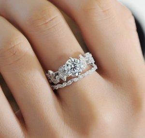 2 Teile Damen 925 Silber Ring NEU