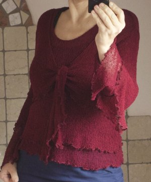 Knitted Bolero dark red-bordeaux rayon