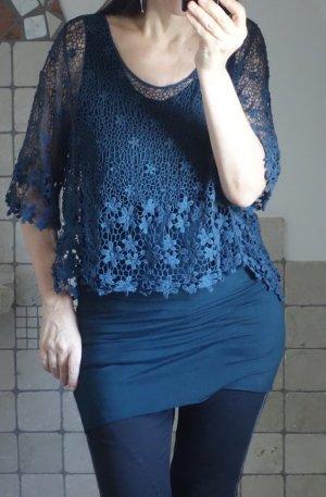2 Teile - Spitzenshirt, Netzpulli mit Blumen, dunkles petrolblau,