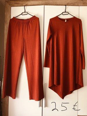 Jersey twin set donker oranje