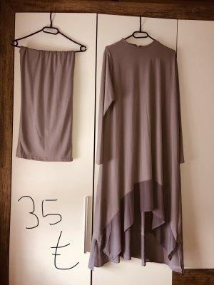 Jersey twin set grijs