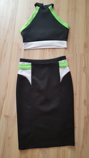 no name Cut out jurk zwart-neon groen