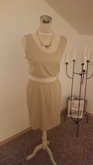 T-shirt jurk lichtgeel-grijs-groen