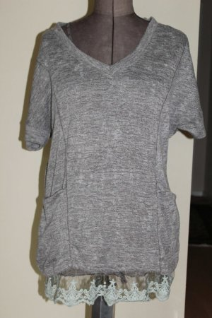 Long Shirt grey brown mixture fibre