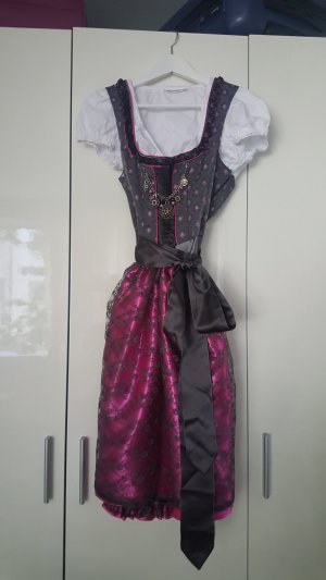 Country Line Dirndl grey-raspberry-red