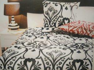 2-teiliges rot-weißes Baumwoll-Bettwäscheset