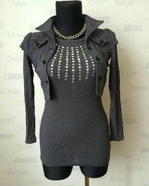 Oversized blouse zilver-grijs