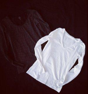 2 tolle neuwertige sweatshirt schwarz weiß gepunktet gr. s